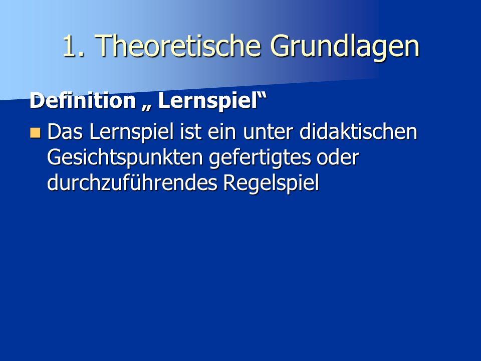1.Theoretische Grundlagen Warum Lernspiele im Unterricht.