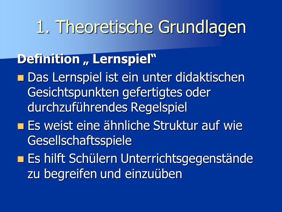 1. Theoretische Grundlagen Warum Lernspiele im Unterricht?