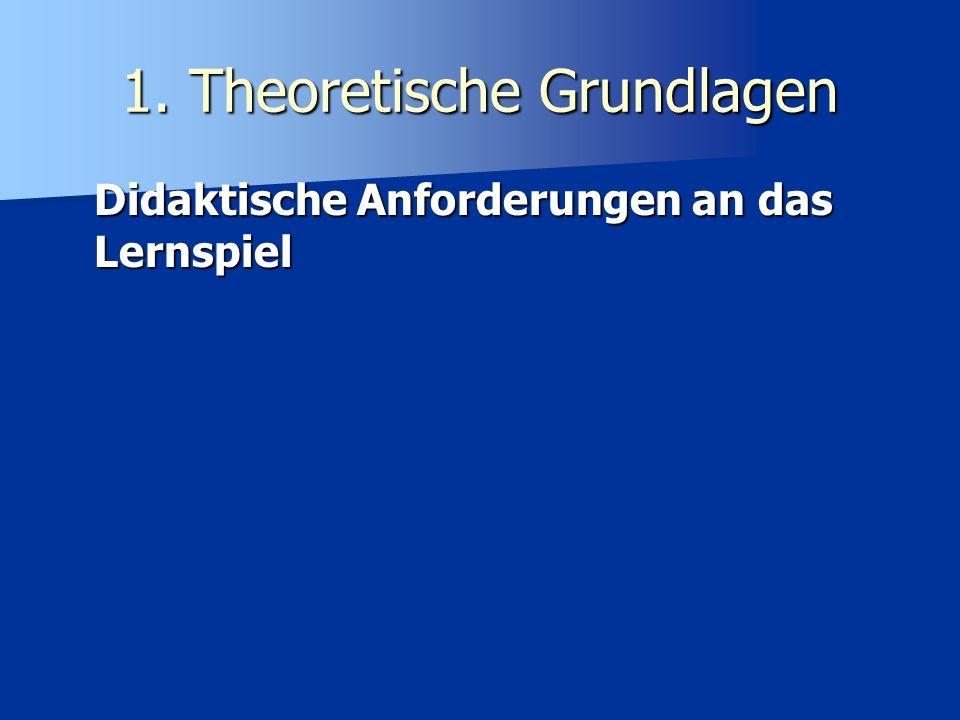 1. Theoretische Grundlagen Didaktische Anforderungen an das Lernspiel