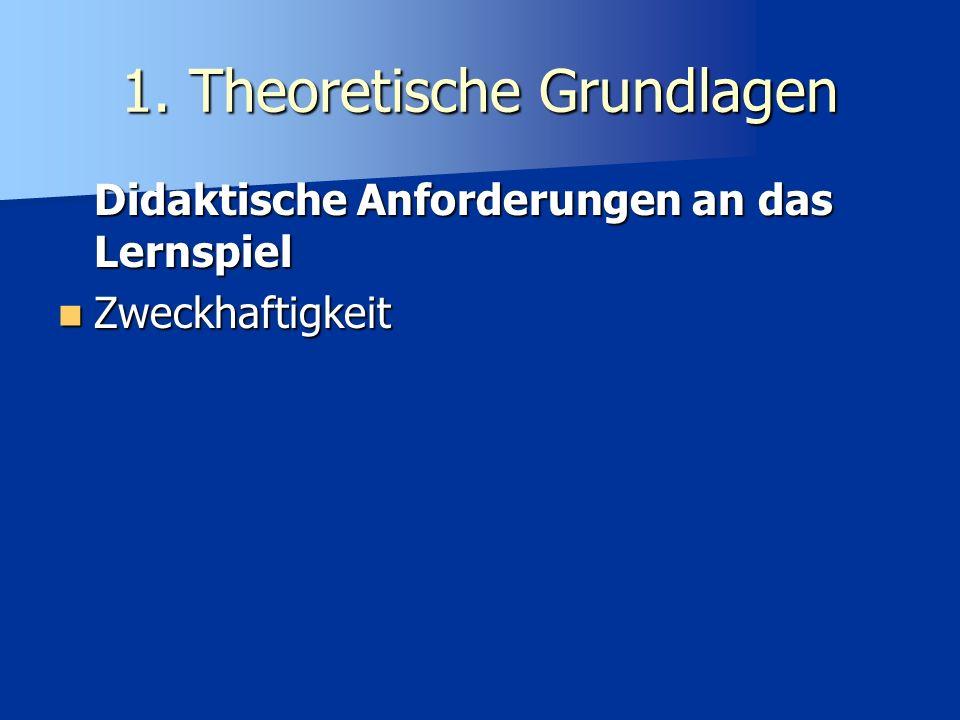 1. Theoretische Grundlagen Didaktische Anforderungen an das Lernspiel Zweckhaftigkeit Zweckhaftigkeit