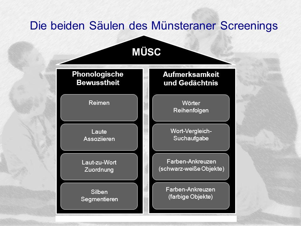 Die beiden Säulen des Münsteraner Screenings Farben-Ankreuzen (schwarz-weiße Objekte) Farben-Ankreuzen (farbige Objekte) Wort-Vergleich- Suchaufgabe W