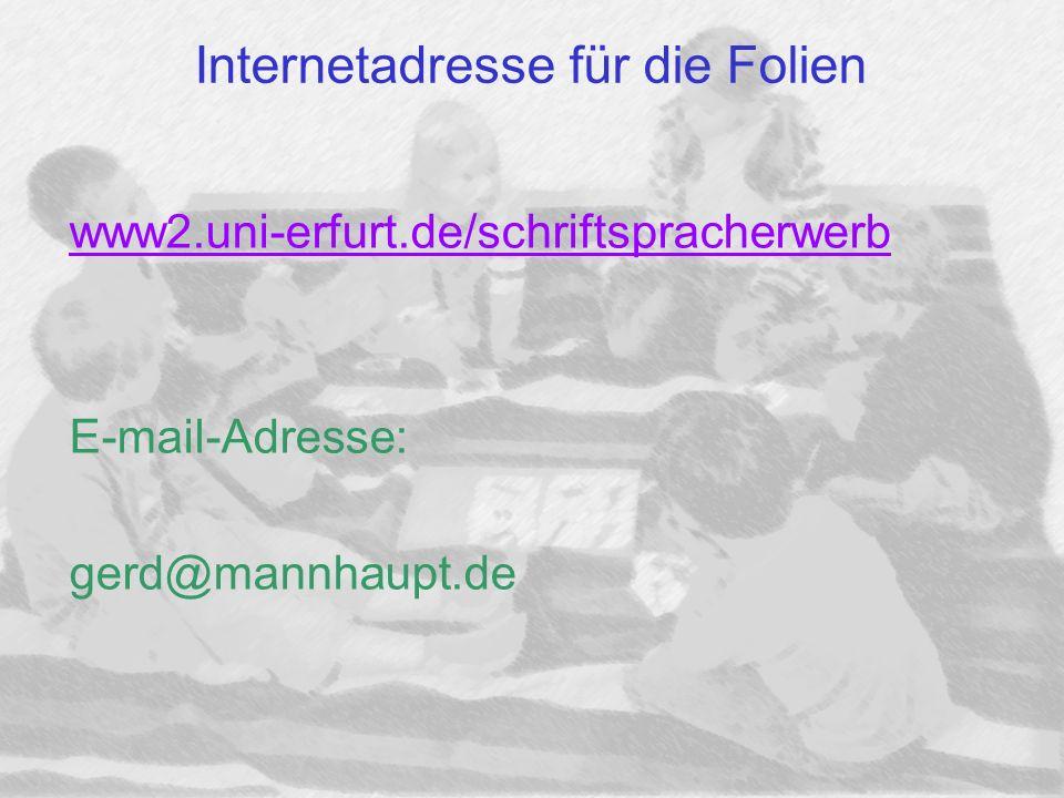 Internetadresse für die Folien www2.uni-erfurt.de/schriftspracherwerb E-mail-Adresse: gerd@mannhaupt.de
