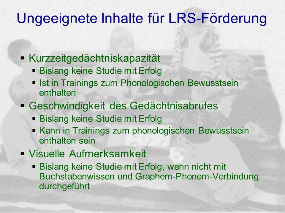Ungeeignete Inhalte für LRS-Förderung Kurzzeitgedächtniskapazität Bislang keine Studie mit Erfolg Ist in Trainings zum Phonologischen Bewusstsein enth