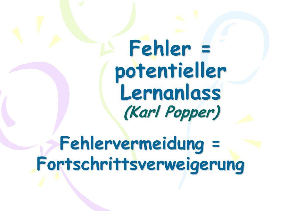 Fehler = potentieller Lernanlass (Karl Popper) Fehlervermeidung = Fortschrittsverweigerung
