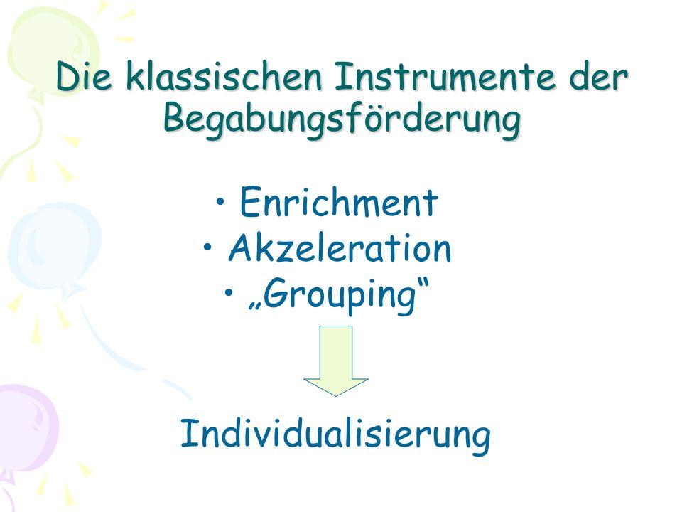 Die klassischen Instrumente der Begabungsförderung Enrichment Akzeleration Grouping Individualisierung