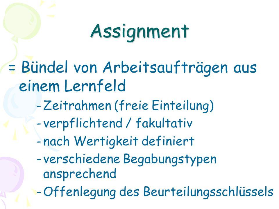 Assignment = Bündel von Arbeitsaufträgen aus einem Lernfeld -Zeitrahmen (freie Einteilung) -verpflichtend / fakultativ -nach Wertigkeit definiert -verschiedene Begabungstypen ansprechend -Offenlegung des Beurteilungsschlüssels