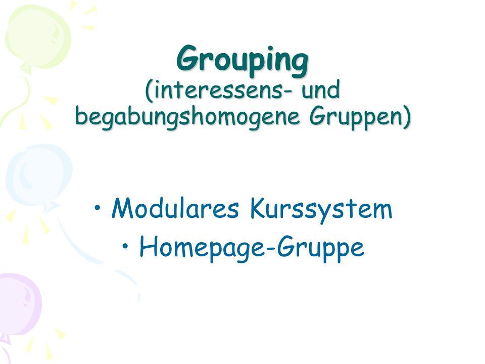 Grouping (interessens- und begabungshomogene Gruppen) Modulares Kurssystem Homepage-Gruppe