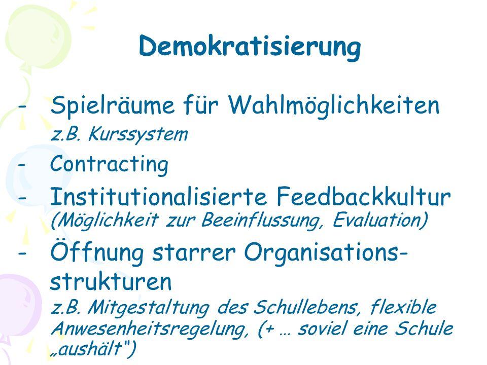 Demokratisierung -Spielräume für Wahlmöglichkeiten z.B.