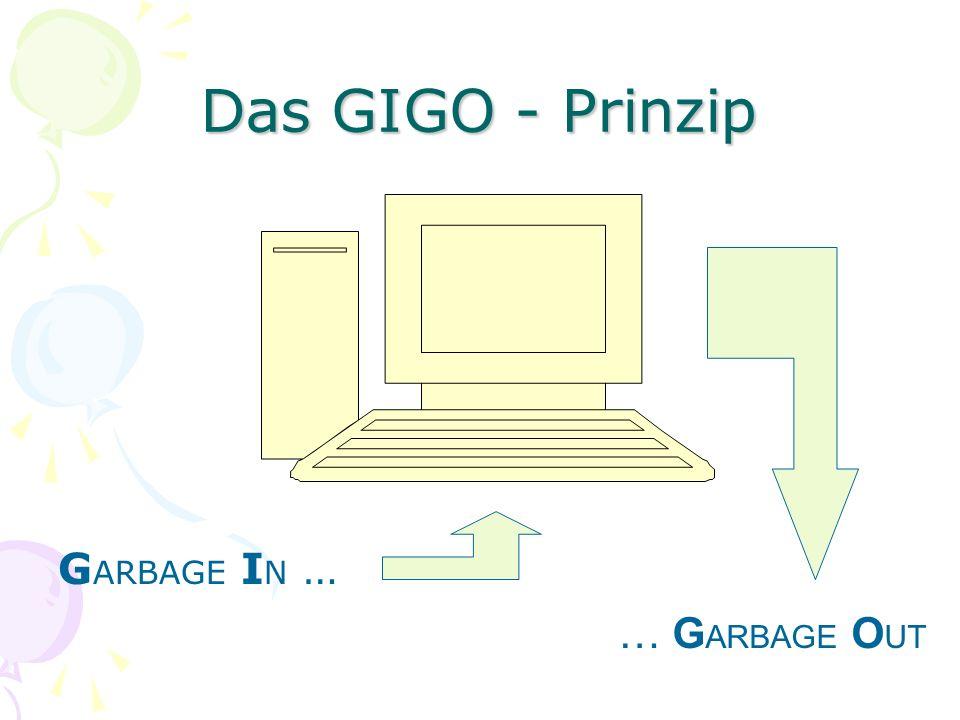 Das GIGO - Prinzip G ARBAGE I N … … G ARBAGE O UT