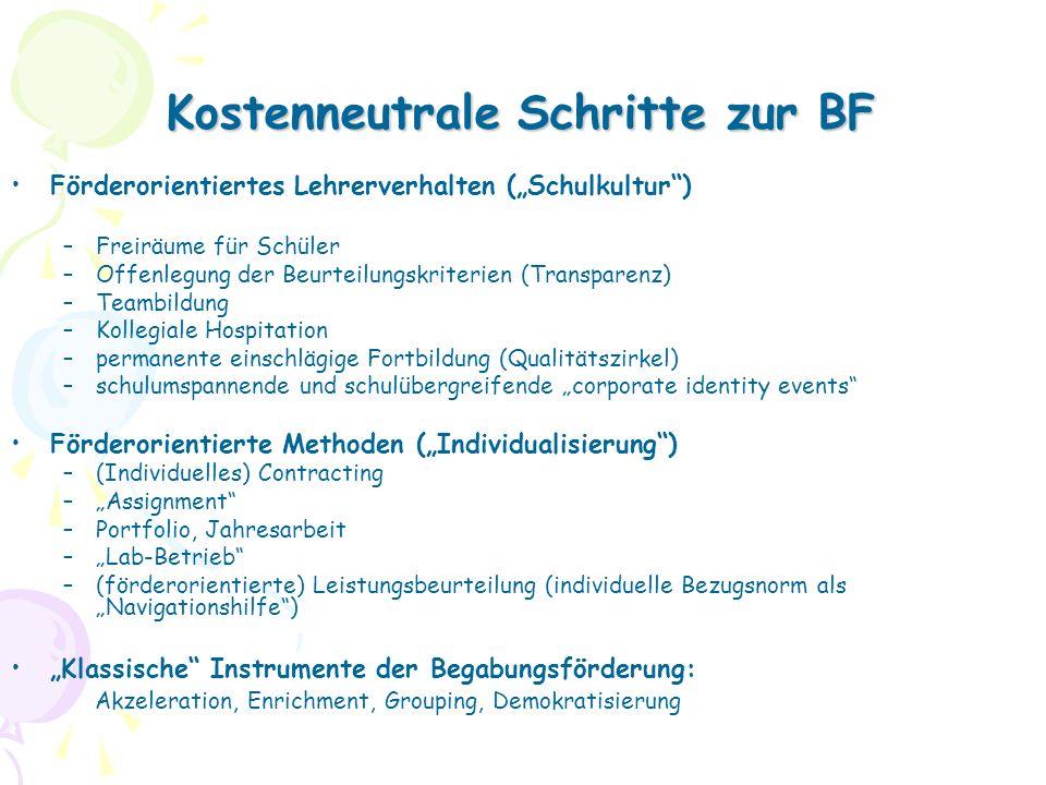 Kostenneutrale Schritte zur BF Förderorientiertes Lehrerverhalten (Schulkultur) –Freiräume für Schüler –Offenlegung der Beurteilungskriterien (Transparenz) –Teambildung –Kollegiale Hospitation –permanente einschlägige Fortbildung (Qualitätszirkel) –schulumspannende und schulübergreifende corporate identity events Förderorientierte Methoden (Individualisierung) –(Individuelles) Contracting –Assignment –Portfolio, Jahresarbeit –Lab-Betrieb –(förderorientierte) Leistungsbeurteilung (individuelle Bezugsnorm als Navigationshilfe) Klassische Instrumente der Begabungsförderung: Akzeleration, Enrichment, Grouping, Demokratisierung