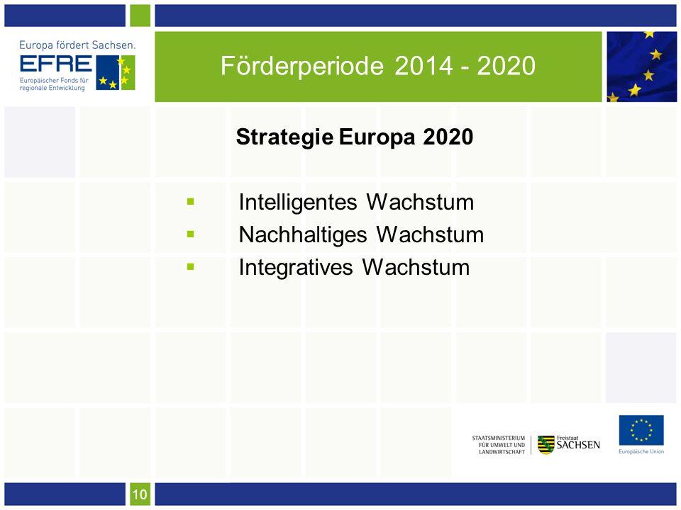 10 Förderperiode 2014 - 2020 Strategie Europa 2020 Intelligentes Wachstum Nachhaltiges Wachstum Integratives Wachstum