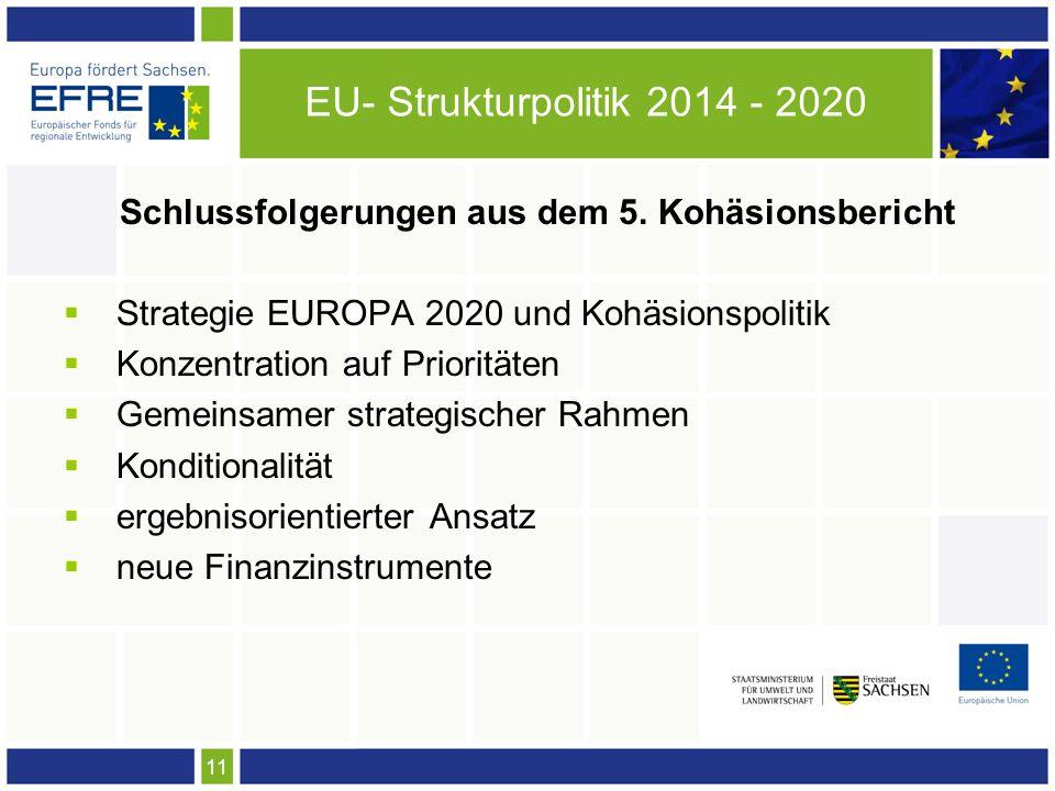 11 EU- Strukturpolitik 2014 - 2020 Schlussfolgerungen aus dem 5. Kohäsionsbericht Strategie EUROPA 2020 und Kohäsionspolitik Konzentration auf Priorit