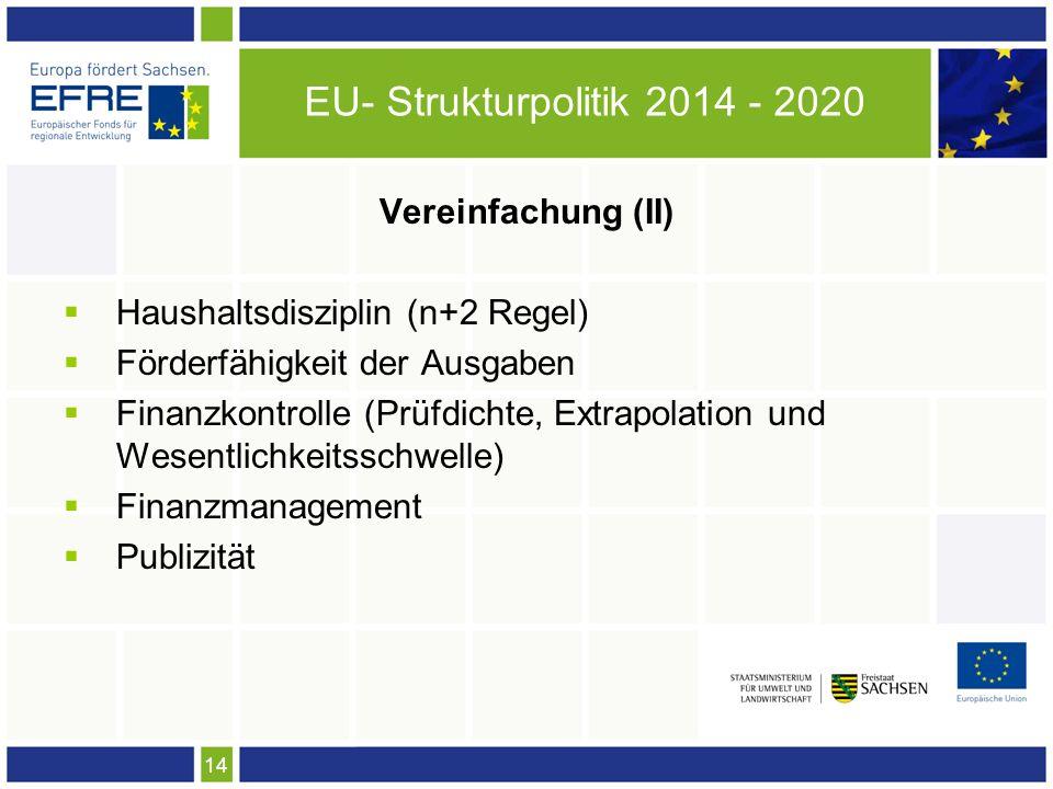 14 EU- Strukturpolitik 2014 - 2020 Vereinfachung (II) Haushaltsdisziplin (n+2 Regel) Förderfähigkeit der Ausgaben Finanzkontrolle (Prüfdichte, Extrapolation und Wesentlichkeitsschwelle) Finanzmanagement Publizität