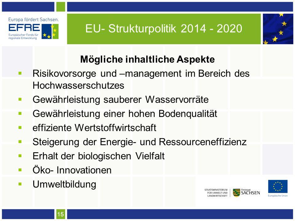 15 EU- Strukturpolitik 2014 - 2020 Mögliche inhaltliche Aspekte Risikovorsorge und –management im Bereich des Hochwasserschutzes Gewährleistung sauberer Wasservorräte Gewährleistung einer hohen Bodenqualität effiziente Wertstoffwirtschaft Steigerung der Energie- und Ressourceneffizienz Erhalt der biologischen Vielfalt Öko- Innovationen Umweltbildung