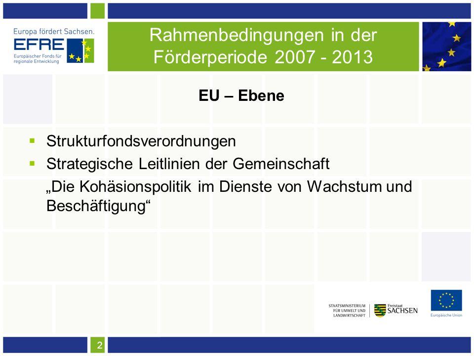 2 Rahmenbedingungen in der Förderperiode 2007 - 2013 EU – Ebene Strukturfondsverordnungen Strategische Leitlinien der Gemeinschaft Die Kohäsionspolitik im Dienste von Wachstum und Beschäftigung