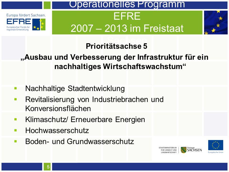 5 Operationelles Programm EFRE 2007 – 2013 im Freistaat Sachsen Prioritätsachse 5 Ausbau und Verbesserung der Infrastruktur für ein nachhaltiges Wirtschaftswachstum Nachhaltige Stadtentwicklung Revitalisierung von Industriebrachen und Konversionsflächen Klimaschutz/ Erneuerbare Energien Hochwasserschutz Boden- und Grundwasserschutz