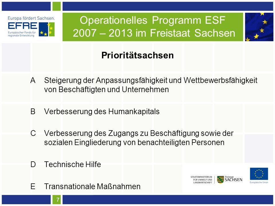 7 Operationelles Programm ESF 2007 – 2013 im Freistaat Sachsen Prioritätsachsen A Steigerung der Anpassungsfähigkeit und Wettbewerbsfähigkeit von Beschäftigten und Unternehmen BVerbesserung des Humankapitals CVerbesserung des Zugangs zu Beschäftigung sowie der sozialen Eingliederung von benachteiligten Personen DTechnische Hilfe ETransnationale Maßnahmen