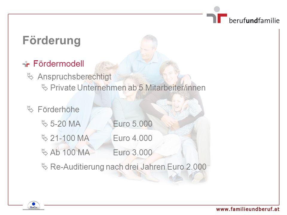 Fördermodell Anspruchsberechtigt Private Unternehmen ab 5 Mitarbeiter/innen Förderhöhe 5-20 MAEuro 5.000 21-100 MAEuro 4.000 Ab 100 MAEuro 3.000 Re-Au