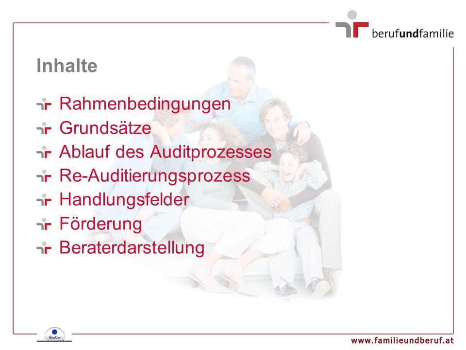 Rahmenbedingungen Ausgangspunkt - geschichtliche Entwicklung 1980er Jahre - family friendly index USA 1995 Entwicklung in Deutschland 1998 Adaptierung in Österreich 2001 europaweite Anwendung european work & family audit
