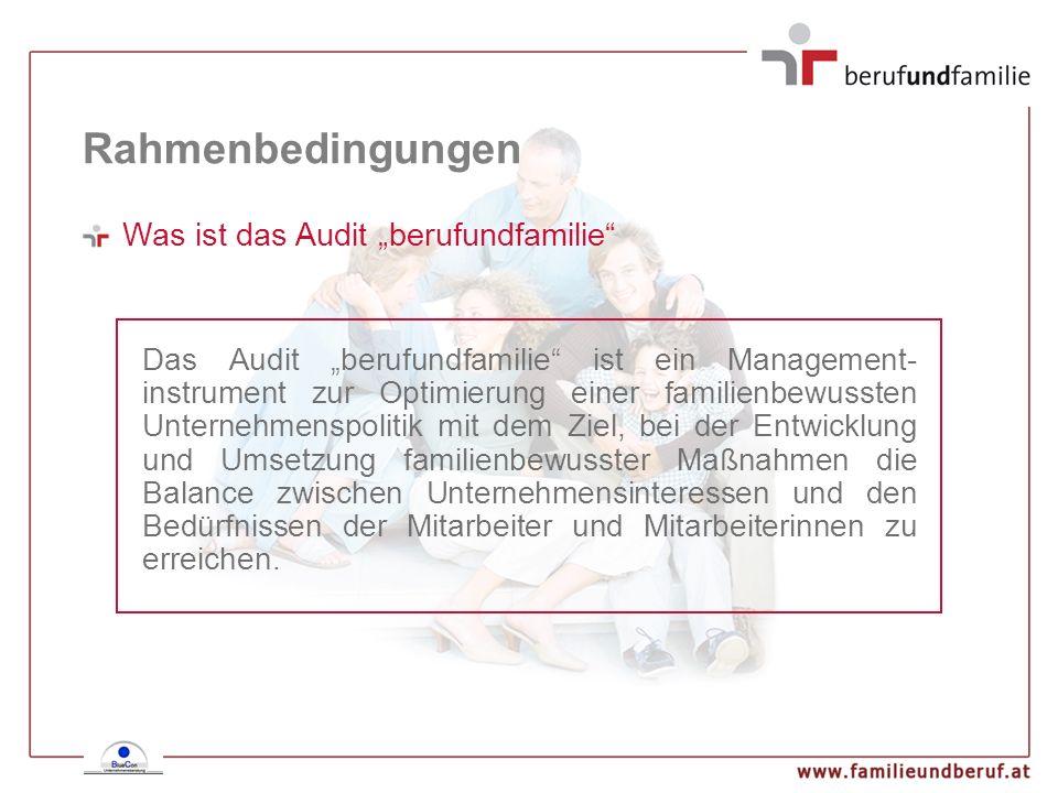 Rahmenbedingungen Was ist das Audit berufundfamilie Das Audit berufundfamilie ist ein Management- instrument zur Optimierung einer familienbewussten U
