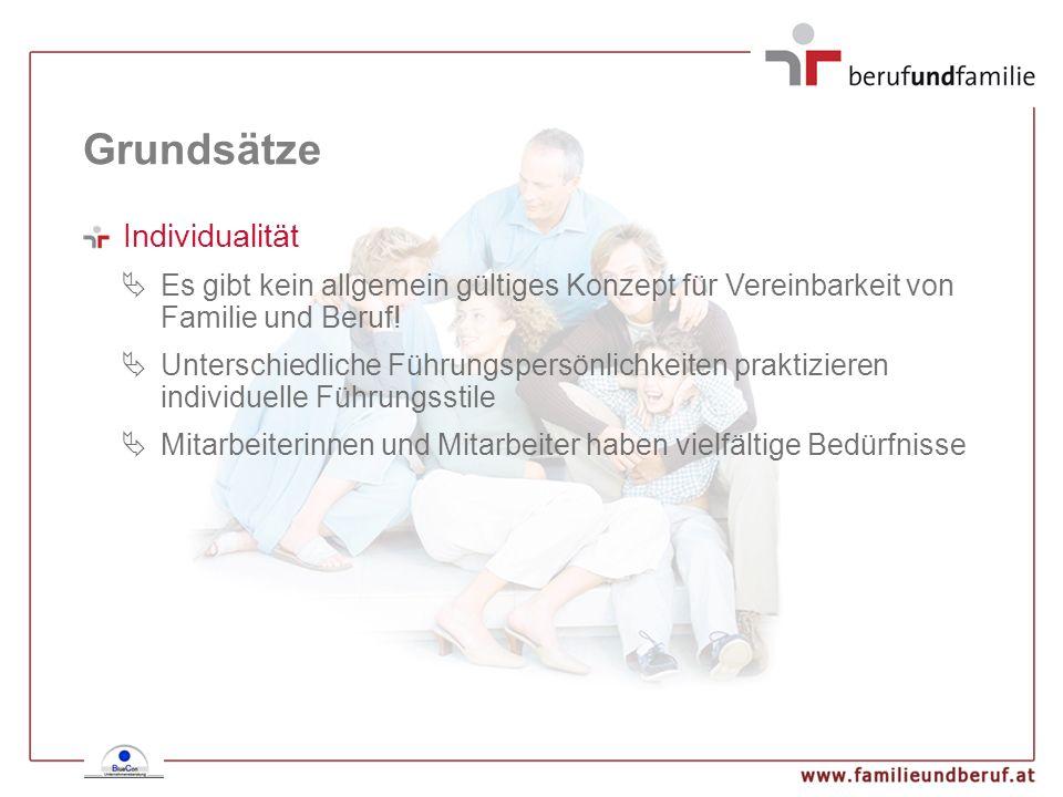Grundsätze Flexibilität Belastungsschwankungen können sowohl aufgrund beruflicher wie auch privater Situationen entstehen Familiäre Gründe liegen häufig im Betreuungsmanagement bei unplanbaren Ereignissen Unvorhergesehene betriebliche Schwankungen können viele Ursachen haben Rechtzeitige Notfallsplanungen unterstützen flexible Lösungen