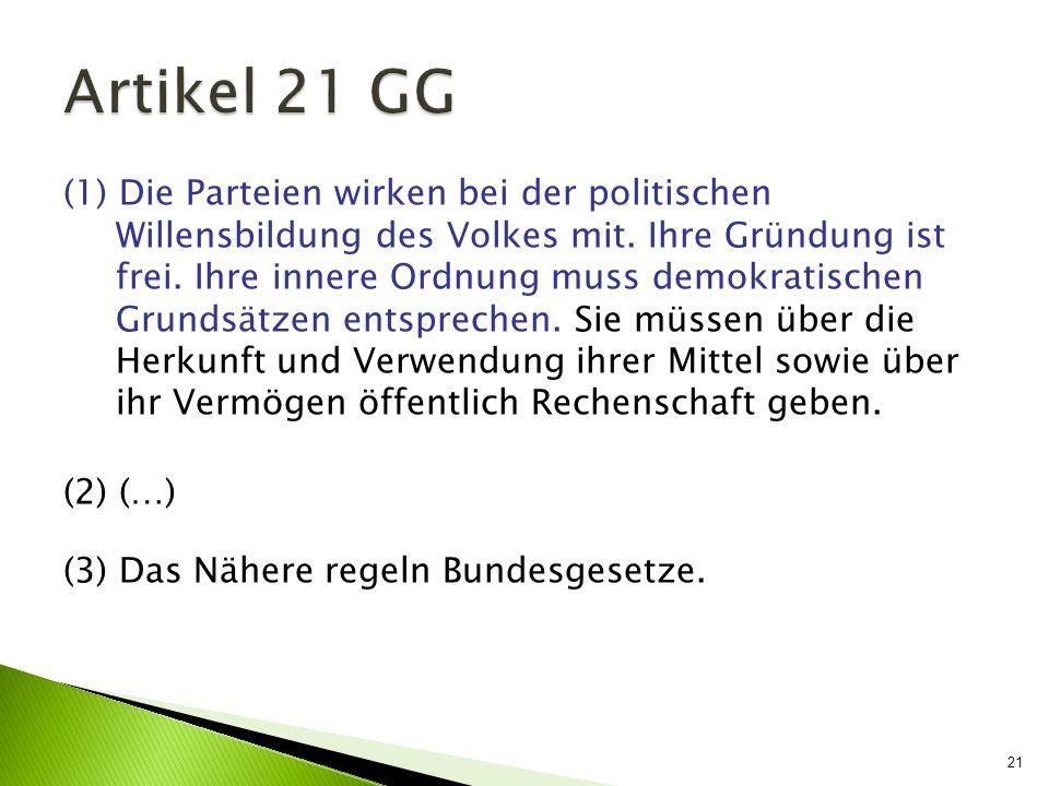 21 (1) Die Parteien wirken bei der politischen Willensbildung des Volkes mit. Ihre Gründung ist frei. Ihre innere Ordnung muss demokratischen Grundsät