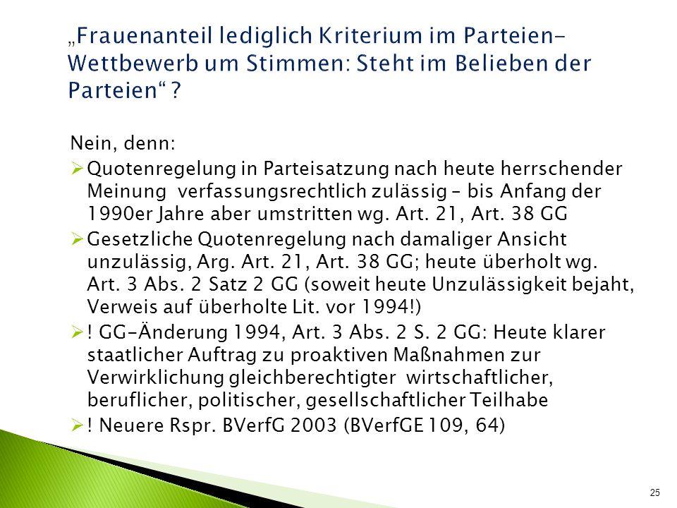 Nein, denn: Quotenregelung in Parteisatzung nach heute herrschender Meinung verfassungsrechtlich zulässig – bis Anfang der 1990er Jahre aber umstritte