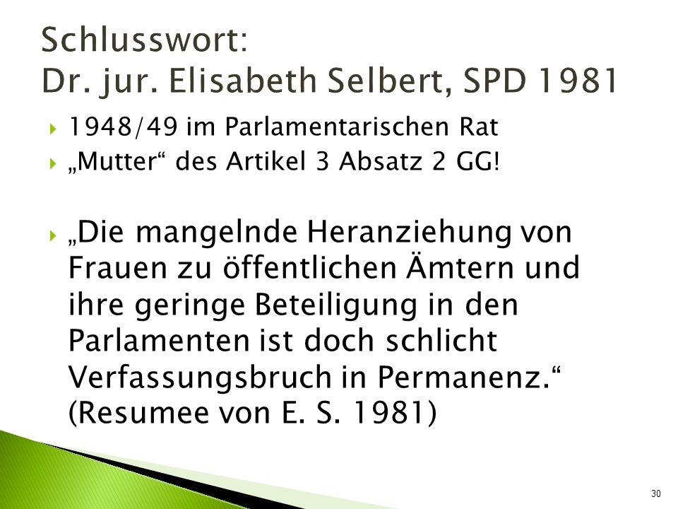 1948/49 im Parlamentarischen Rat Mutter des Artikel 3 Absatz 2 GG! Die mangelnde Heranziehung von Frauen zu öffentlichen Ämtern und ihre geringe Betei