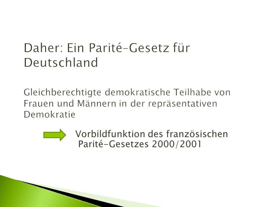 Daher: Ein Parité–Gesetz für Deutschland Gleichberechtigte demokratische Teilhabe von Frauen und Männern in der repräsentativen Demokratie Vorbildfunk
