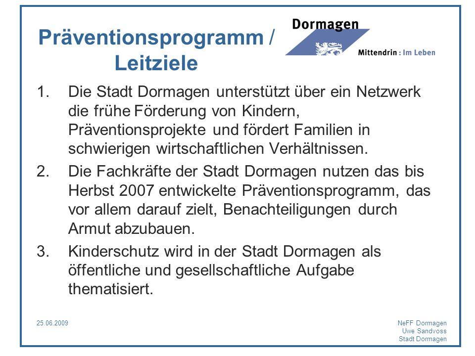 25.06.2009NeFF Dormagen Uwe Sandvoss Stadt Dormagen Präventionsprogramm / Leitziele 1.Die Stadt Dormagen unterstützt über ein Netzwerk die frühe Förde