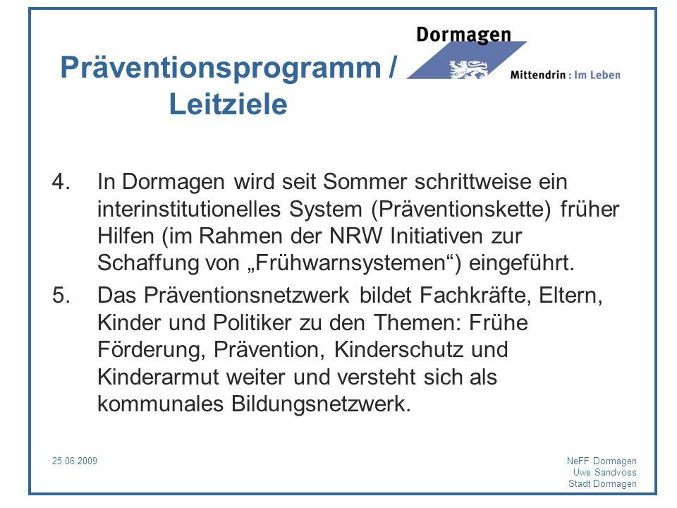25.06.2009NeFF Dormagen Uwe Sandvoss Stadt Dormagen Präventionsprogramm / Leitziele 4.In Dormagen wird seit Sommer schrittweise ein interinstitutionel