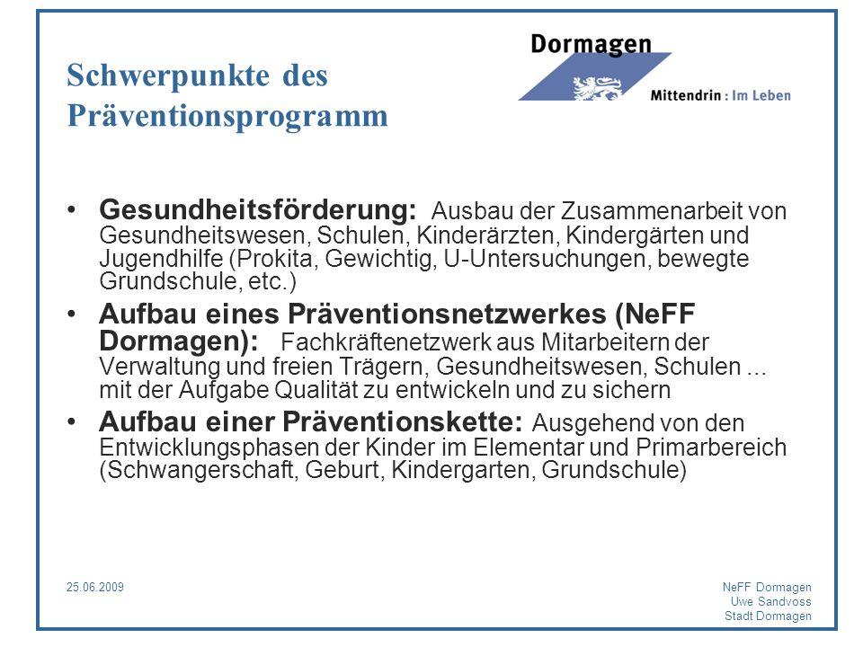 25.06.2009NeFF Dormagen Uwe Sandvoss Stadt Dormagen Schwerpunkte des Präventionsprogramm Gesundheitsförderung: Ausbau der Zusammenarbeit von Gesundhei