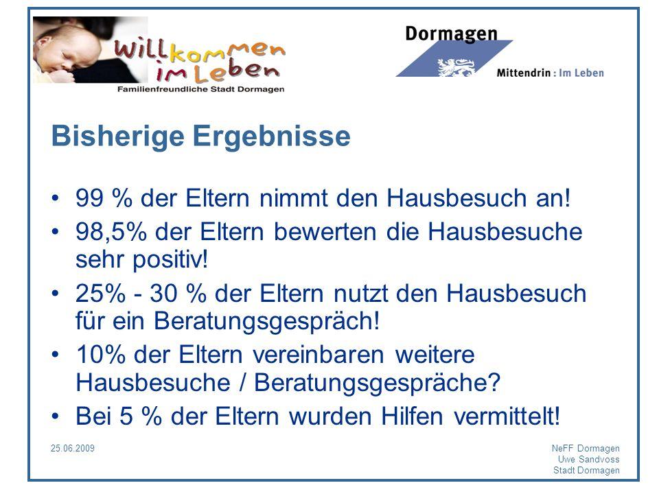 25.06.2009NeFF Dormagen Uwe Sandvoss Stadt Dormagen Bisherige Ergebnisse 99 % der Eltern nimmt den Hausbesuch an! 98,5% der Eltern bewerten die Hausbe