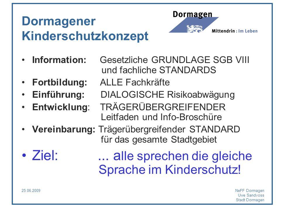 25.06.2009NeFF Dormagen Uwe Sandvoss Stadt Dormagen Dormagener Kinderschutzkonzept Information: Gesetzliche GRUNDLAGE SGB VIII und fachliche STANDARDS