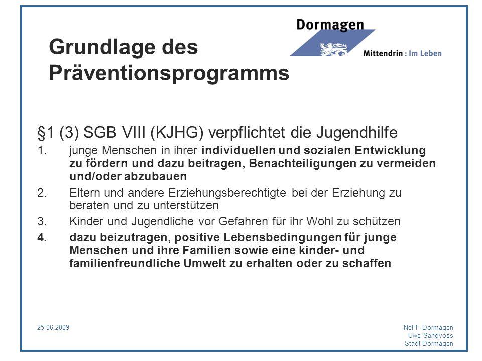 25.06.2009NeFF Dormagen Uwe Sandvoss Stadt Dormagen Grundlage des Präventionsprogramms §1 (3) SGB VIII (KJHG) verpflichtet die Jugendhilfe 1.junge Men
