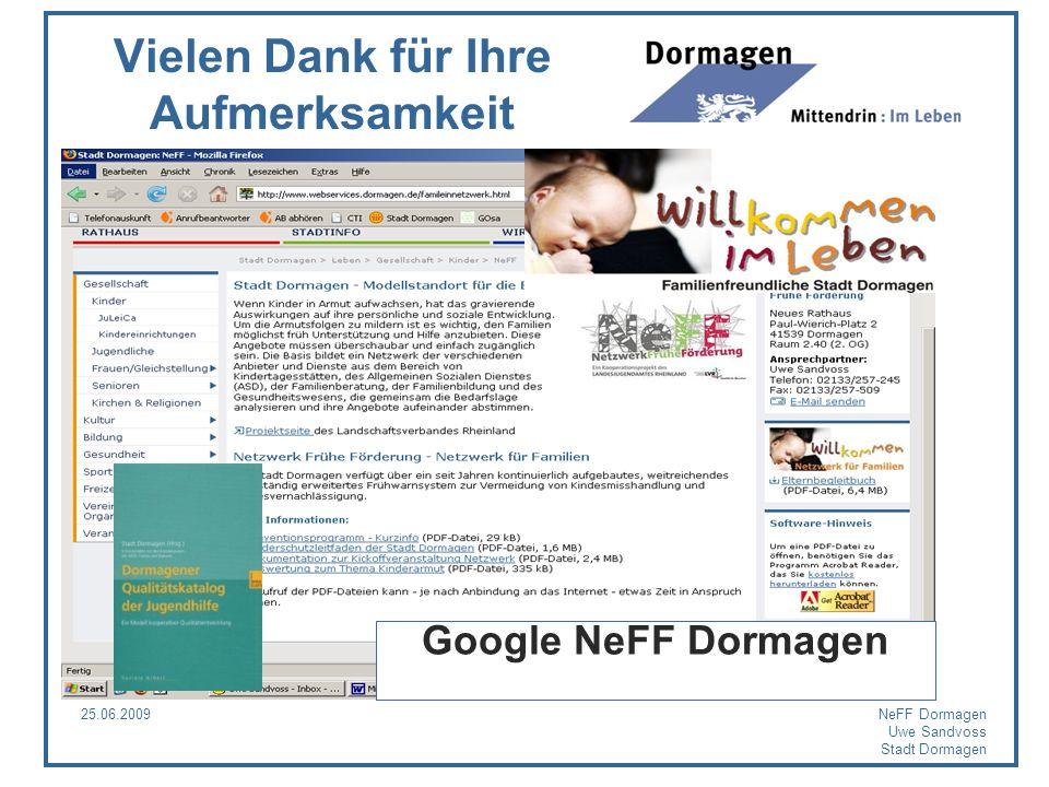 25.06.2009NeFF Dormagen Uwe Sandvoss Stadt Dormagen Google NeFF Dormagen Vielen Dank für Ihre Aufmerksamkeit