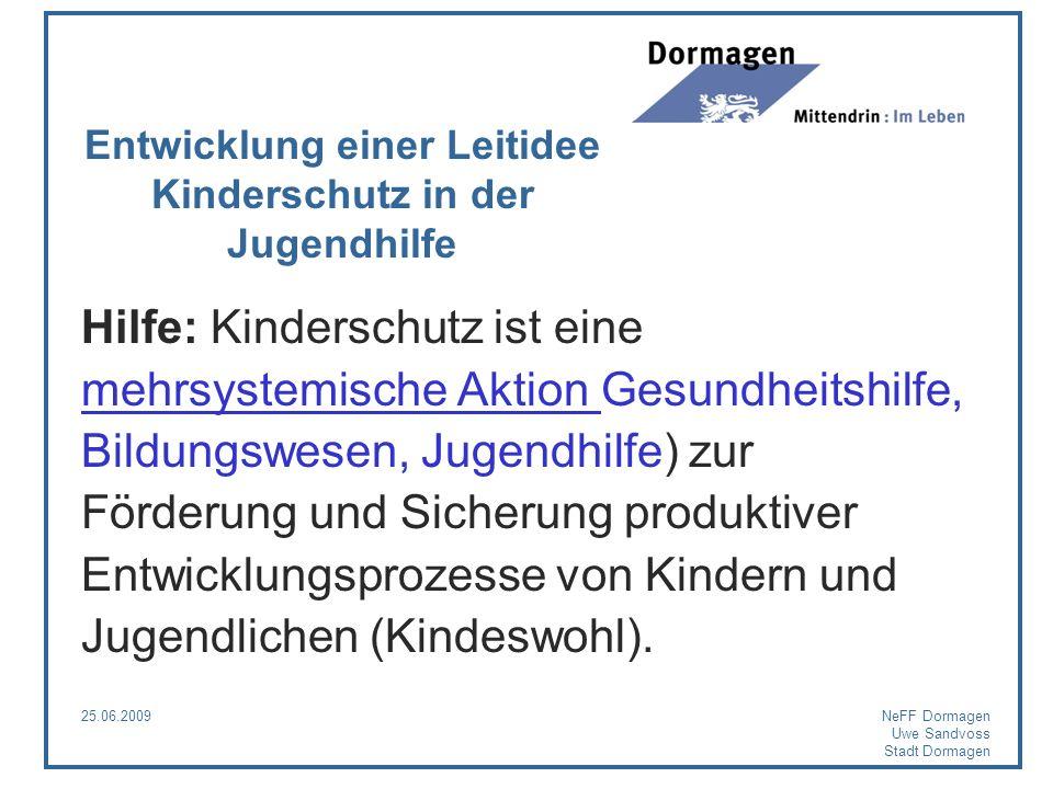 25.06.2009NeFF Dormagen Uwe Sandvoss Stadt Dormagen Entwicklung einer Leitidee Kinderschutz in der Jugendhilfe Hilfe: Kinderschutz ist eine mehrsystem