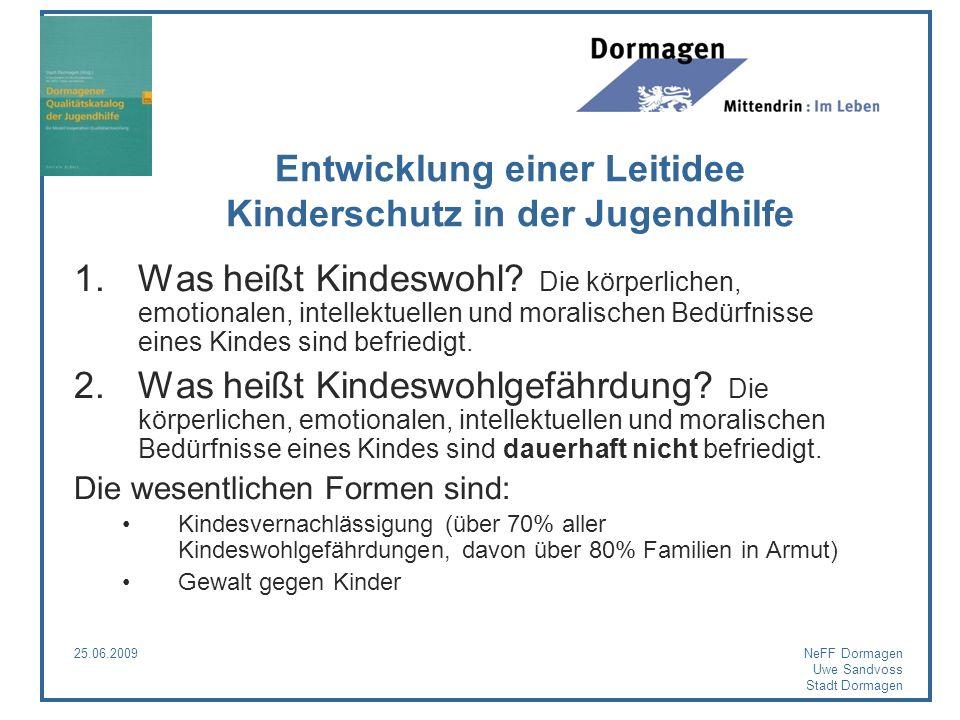 25.06.2009NeFF Dormagen Uwe Sandvoss Stadt Dormagen Entwicklung einer Leitidee Kinderschutz in der Jugendhilfe 1.Was heißt Kindeswohl? Die körperliche
