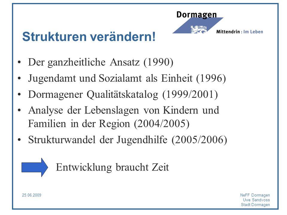 25.06.2009NeFF Dormagen Uwe Sandvoss Stadt Dormagen Strukturen verändern! Der ganzheitliche Ansatz (1990) Jugendamt und Sozialamt als Einheit (1996) D