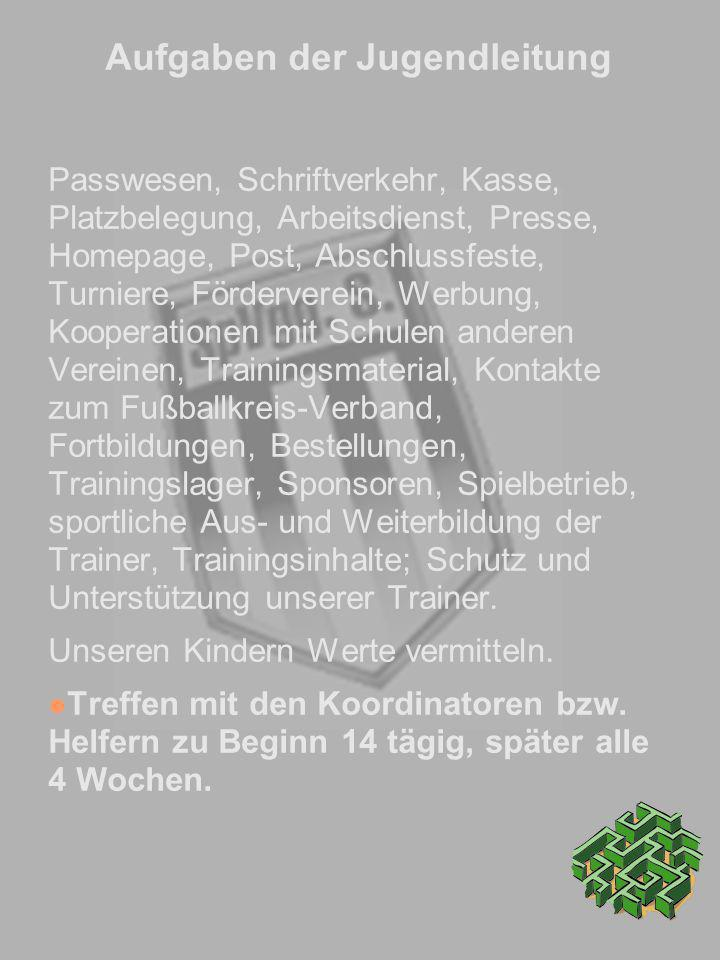 Aufgaben der Jugendleitung Passwesen, Schriftverkehr, Kasse, Platzbelegung, Arbeitsdienst, Presse, Homepage, Post, Abschlussfeste, Turniere, Förderver