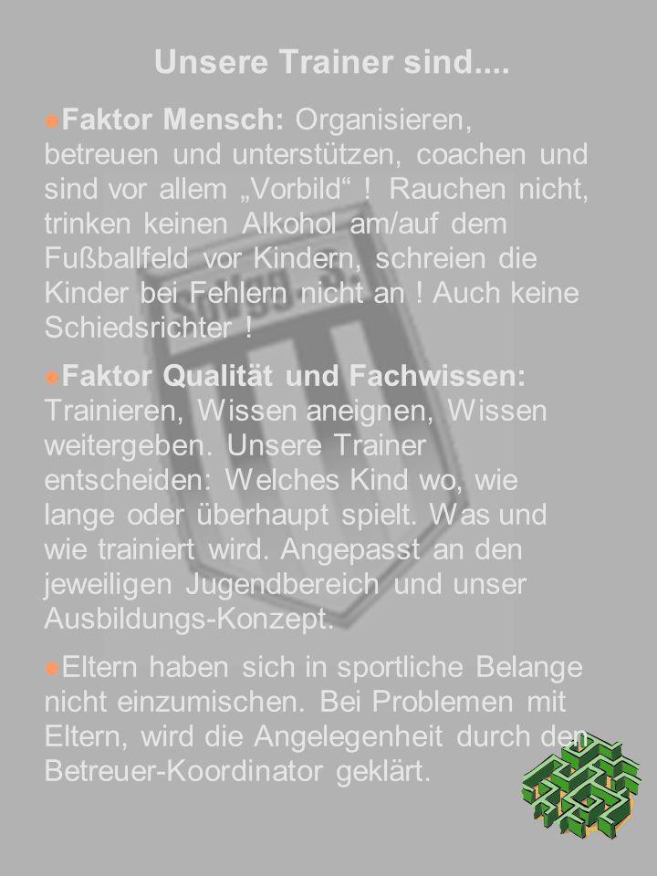 Unsere Trainer sind.... Faktor Mensch: Organisieren, betreuen und unterstützen, coachen und sind vor allem Vorbild ! Rauchen nicht, trinken keinen Alk