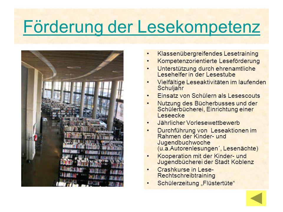 Förderung der Lesekompetenz Klassenübergreifendes Lesetraining Kompetenzorientierte Leseförderung Unterstützung durch ehrenamtliche Lesehelfer in der