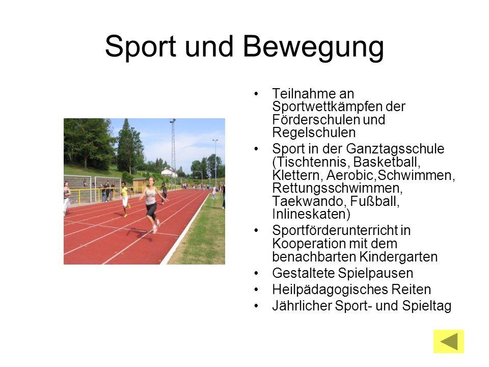 Sport und Bewegung Teilnahme an Sportwettkämpfen der Förderschulen und Regelschulen Sport in der Ganztagsschule (Tischtennis, Basketball, Klettern, Ae