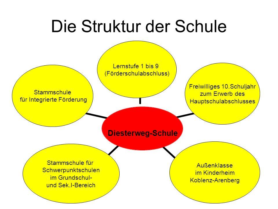 Die Struktur der Schule Diesterweg- Schule Lernstufe 1 bis 9 (Förderschulabschluss) Freiwilliges 10.Schuljahr zum Erwerb des Hauptschulabschlusses Auß