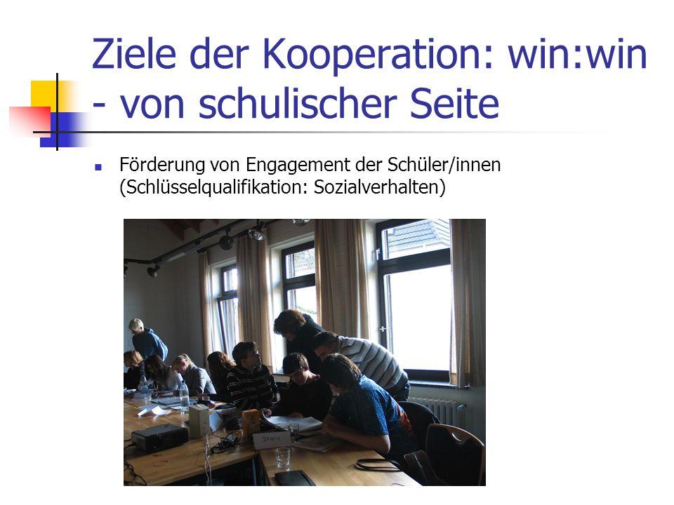 Ziele der Kooperation: win:win - von schulischer Seite Förderung von Engagement der Schüler/innen (Schlüsselqualifikation: Sozialverhalten)
