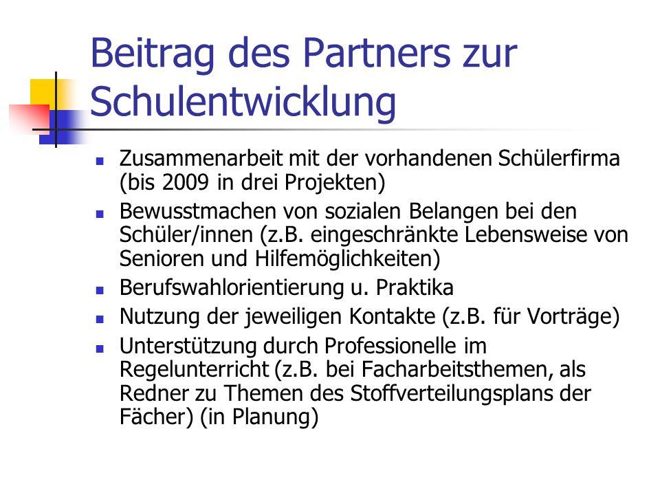 Beitrag des Partners zur Schulentwicklung Zusammenarbeit mit der vorhandenen Schülerfirma (bis 2009 in drei Projekten) Bewusstmachen von sozialen Bela