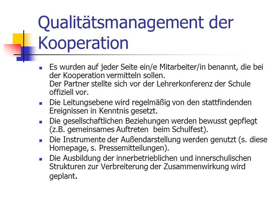 Qualitätsmanagement der Kooperation Es wurden auf jeder Seite ein/e Mitarbeiter/in benannt, die bei der Kooperation vermitteln sollen. Der Partner ste
