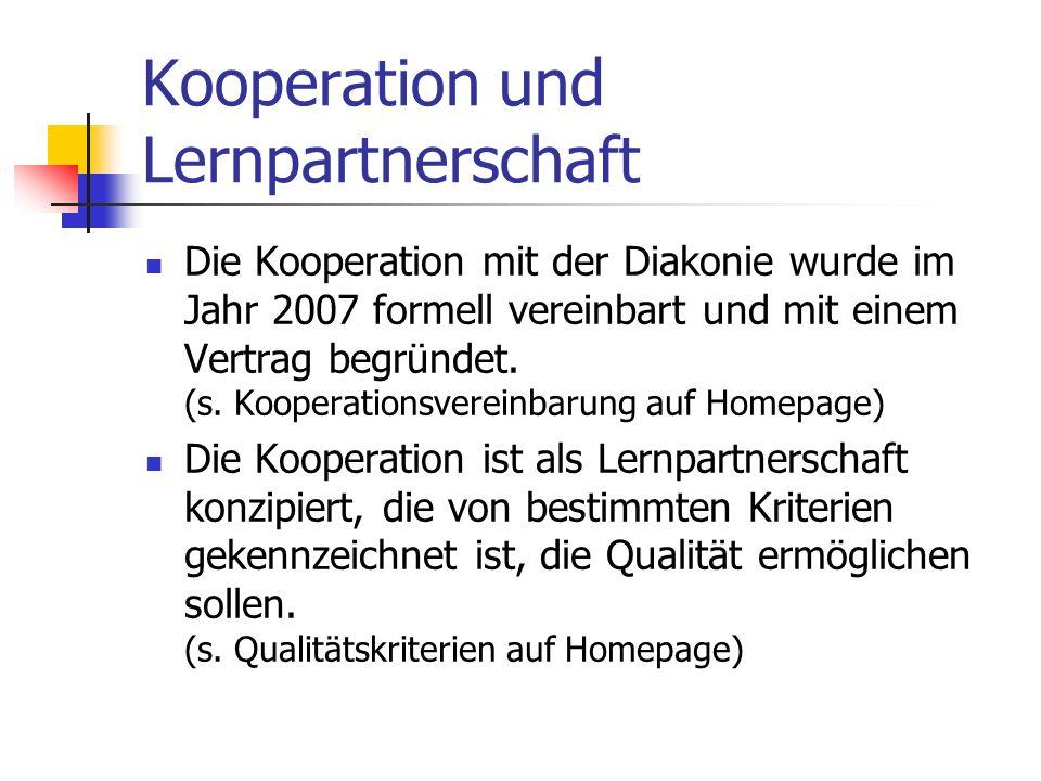 Kooperation und Lernpartnerschaft Die Kooperation mit der Diakonie wurde im Jahr 2007 formell vereinbart und mit einem Vertrag begründet. (s. Kooperat