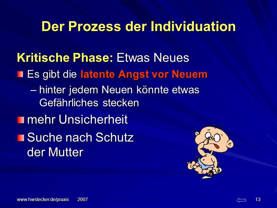 www.hwstecker.de/praxis 2007 13 Der Prozess der Individuation Kritische Phase: Etwas Neues Es gibt die latente Angst vor Neuem –hinter jedem Neuen kön