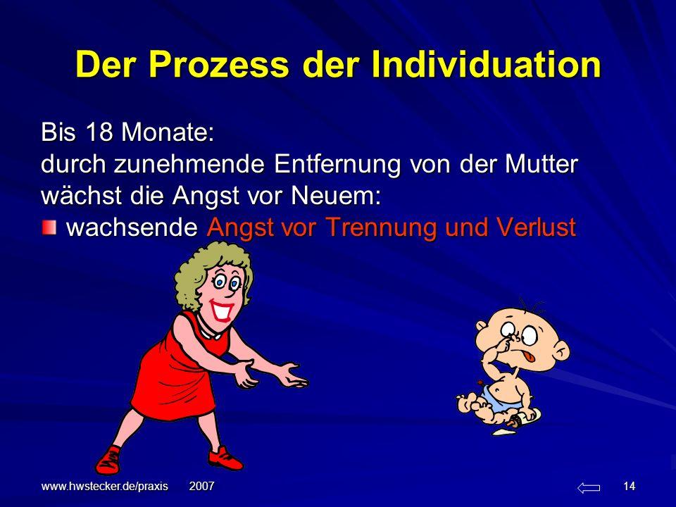 www.hwstecker.de/praxis 2007 14 Der Prozess der Individuation Bis 18 Monate: durch zunehmende Entfernung von der Mutter wächst die Angst vor Neuem: wa